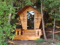 Bird house and barrel saunas