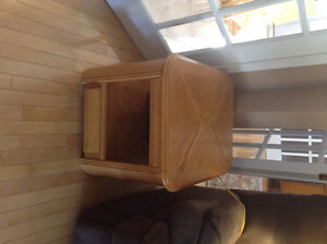 Solid oak coffee and two end tables