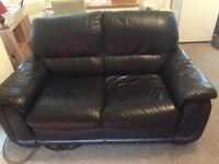 Black Leather Sofa - MUST GO