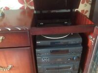 Sony remote control five deck hi fi with turn table housed in cabinet