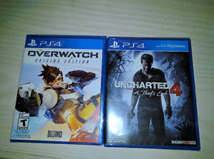 Overwatch and Uncharted 4 - PS4 - Brand New