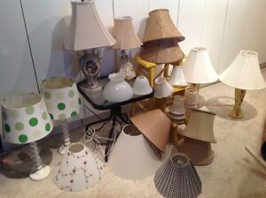 Table lamps & various shades