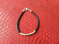 Bracelet argent et cuir pour homme