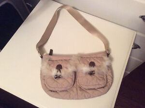 Cute Small Old Navy Nylon Quilted Handbag with Faux Fur