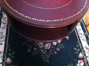English Rotating Mahogany Drum Table With Embossed Leather Top Peterborough Peterborough Area image 10