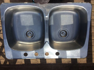 Double, stainless steel kitchen sink