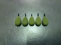 Carp Fishing leads 5 x 3oz flat pear inline leads