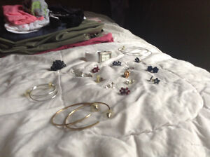 Lot of assorted earrings and ring and watch
