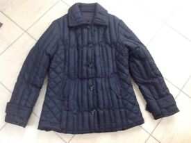 Per UNA Marks & Spencer Black Padded Coat, Size Medium