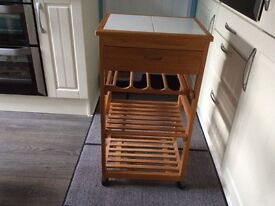 "Small pine/tiled kitchen ""island"" on castors"
