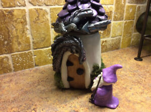 Wizard and dragons, oh my! Fairy house  night light.