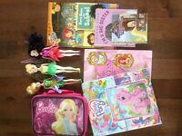 Tinker Bell, books, Barbie soft lunch box