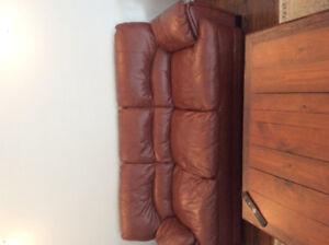 Faux leather couch,chair and ottoman