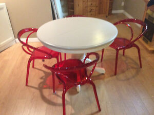 4 Red Ghost Chairs