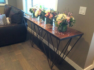 Rustic console table. Reclaimed/distressed wood look. $575 OBO