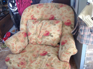 Two downfilled chairs and a red velvet antique couch for sale,