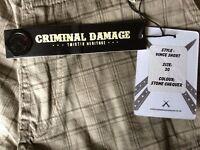 2 Pairs Criminal Damage men's shorts - Brand New