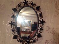 Vintage black wrought iron mirror