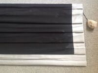 ROMAN BLIND, FAUX SILK, BLACK WITH SILVER BORDERS, LINED, 159cm wide, 317cm long