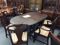 Antique Walnut Dining Table and 6 Chairs