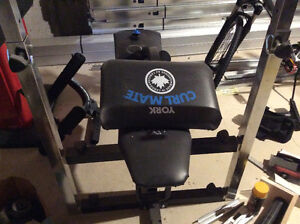 Curling bench with weights and bars