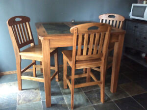 Solid Oak Pub Style Table and Four Chairs with Slate Top