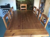 Solid Acacia Wood Dining Table & 8 Chairs