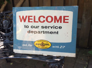 1965 PENNZOIL WELCOME TO OUR SERVICE DEPT. metal sign !