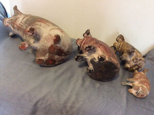 Vintage Clay Piggy Banks Family (Set Of 4) London Ontario image 3