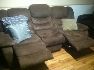 Microfiber three seat couch that reclines  Cambridge Kitchener Area image 1