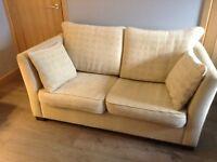 2 and 3 seater cream material sofa