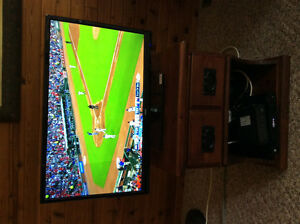 28inch LED RCA t.v. With rolling wood cabinet