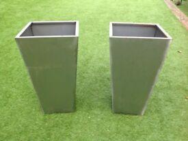 Pair of corton steel planters