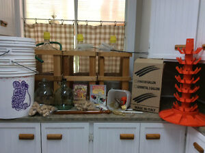Carboys, wine accessories and bottles