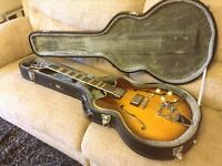 For sale a Hofner Verythin electric guitar with case.