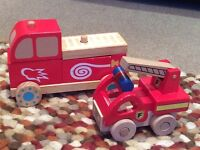 Set of 2 x Wooden Fire Engines