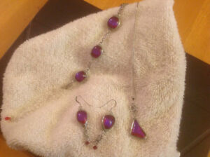 Dichroic glass and sterling silver set.
