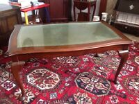 Bridge Craft Mahogany Coffee Table with Glass Top
