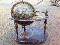 Vintage World Globe Home Bar Drinks Trolley
