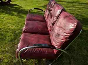 1930's - 40's modern style chrome and leather couch