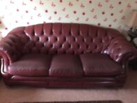 3 and 2 seater leather chesterfield sofas