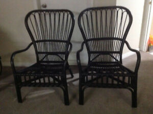 Two indoor/ outdoor wickered chairs