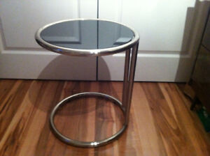 New - Round Glass Sofa Serving Table