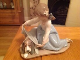 LLADRO ( not nao) GIRL ORNAMENT WITH DOG