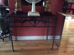 IRON AND RATTAN CONSOLE TABLE