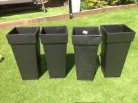Black zinc planters
