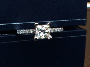 1.14 Carats Princess Cut Engagement Ring. NEW!