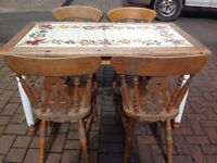 Vintage Solid Pine Farmhouse Tiled Dining Table & Chairs ITALY