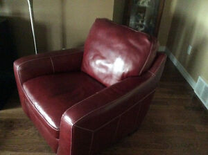 Red leather occasional chair