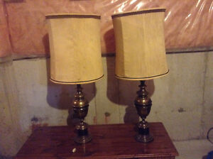 Two solid antique brass lamp shade 50.00 each